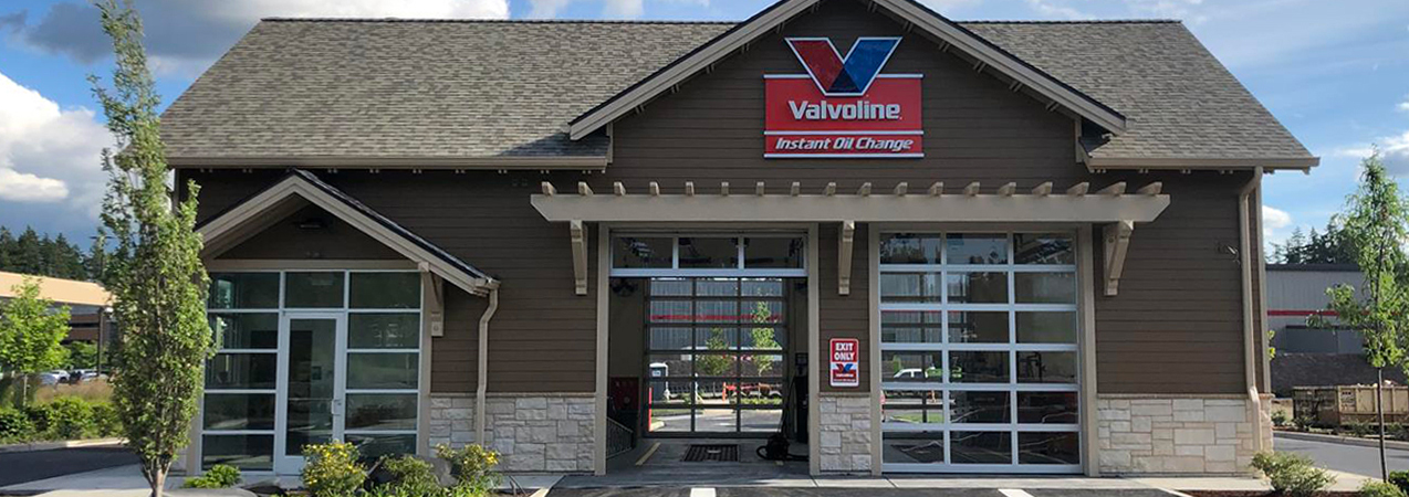 The exterior of this Valvoline Instant Oil Change location is styled to have a residential appearance.
