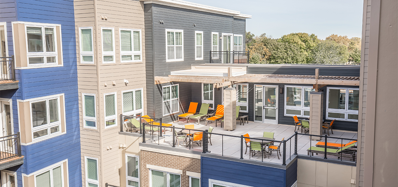 Outdoor area in the Tri-North Builders project at the Veritas Village apartment complex.