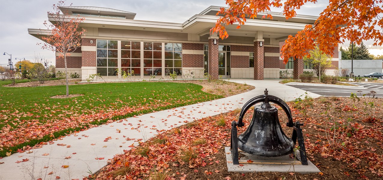 Rear entrance to the Verona, WI, Fire Department building with bell.