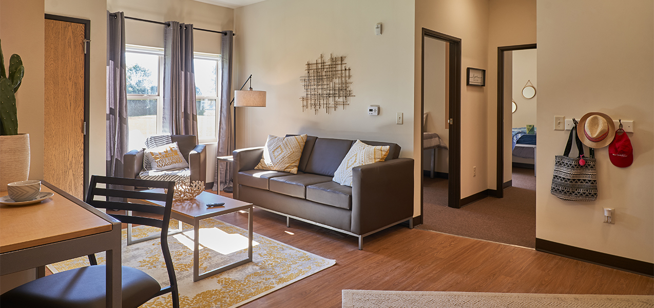 Interior living space inside the Vue Student Housing complex remodeled by Tri-North Builders in Fond du Lac, WI.