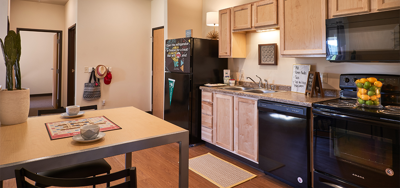 Tri-North Builders remodeled kitchen area inside the Vue Campus Student Living building.