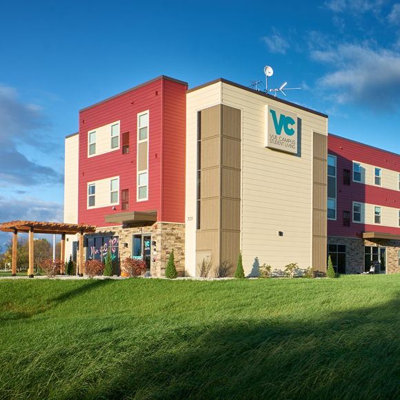 Exterior and entrance to the Vue Student Housing by Tri-North Builders in Fond du Lac, Wisconsin.