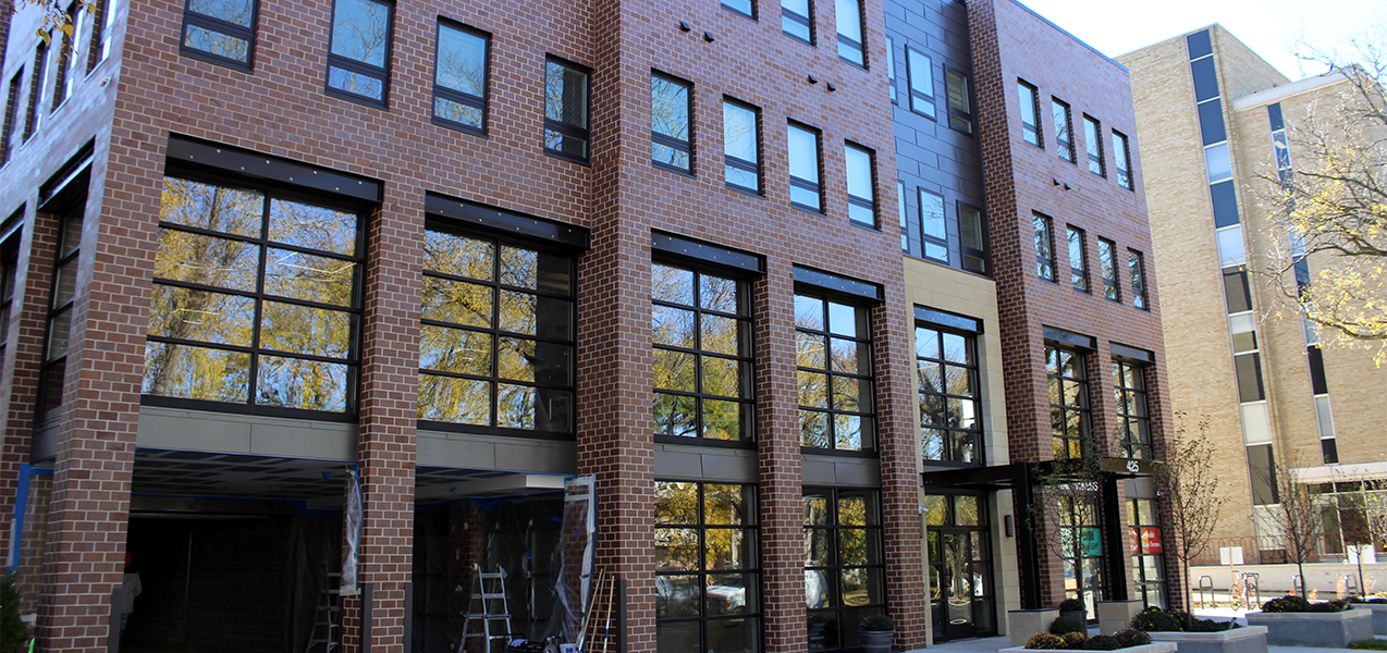Windows and brick work at the Tri-North Builders project site at Washington Plaza apartments in Madison, WI