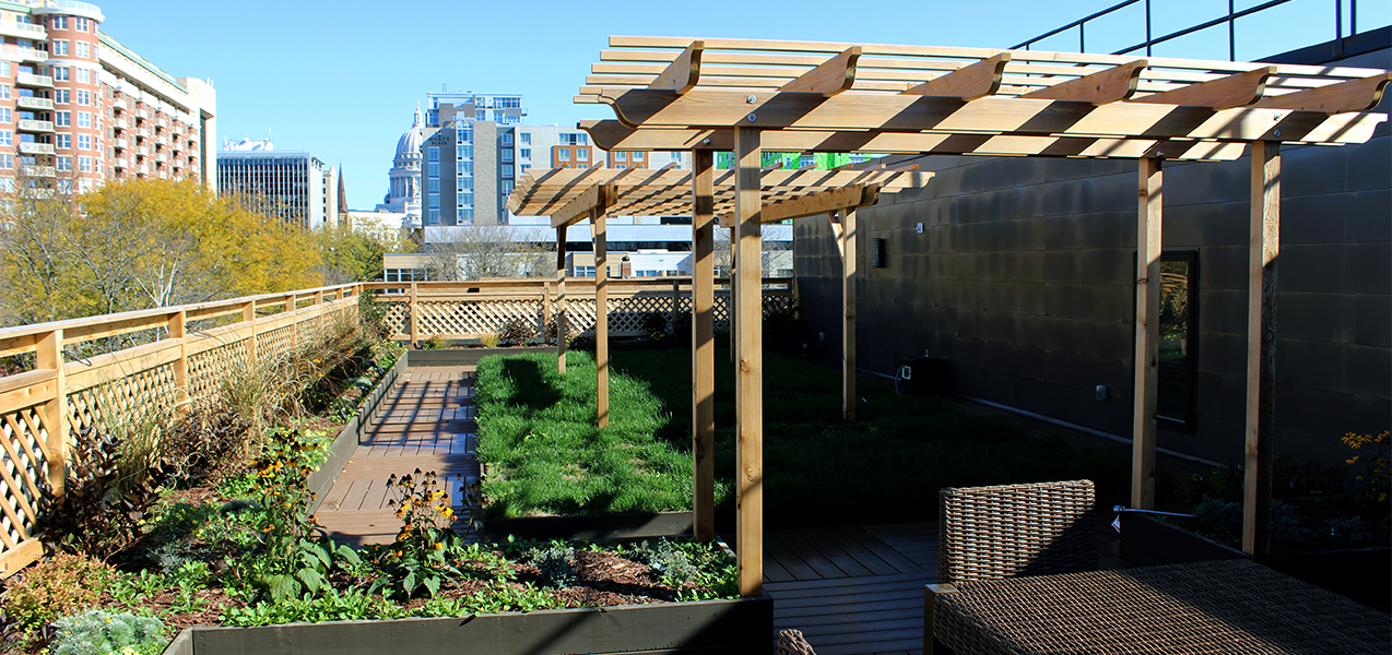Outside seating area for Washington Plaza residents in Madison. WI, remodeled and built by Tri-North Builders.