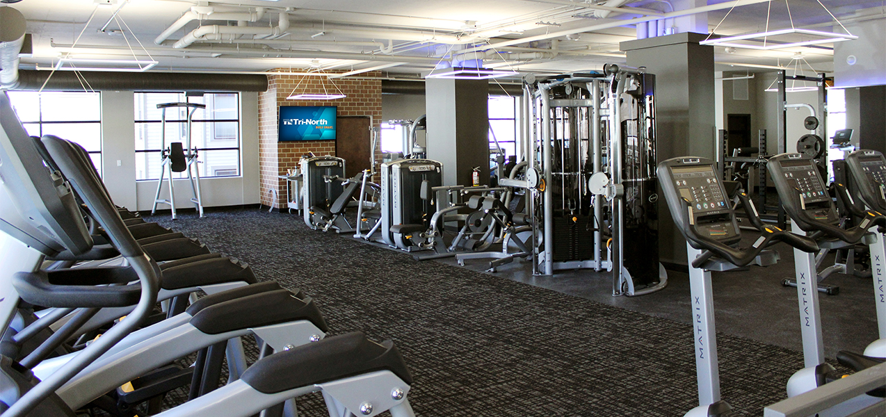 Fitness equipment inside the Tri-North Builders remodeled Washington Plaza apartments in Madison, Wisconsin.