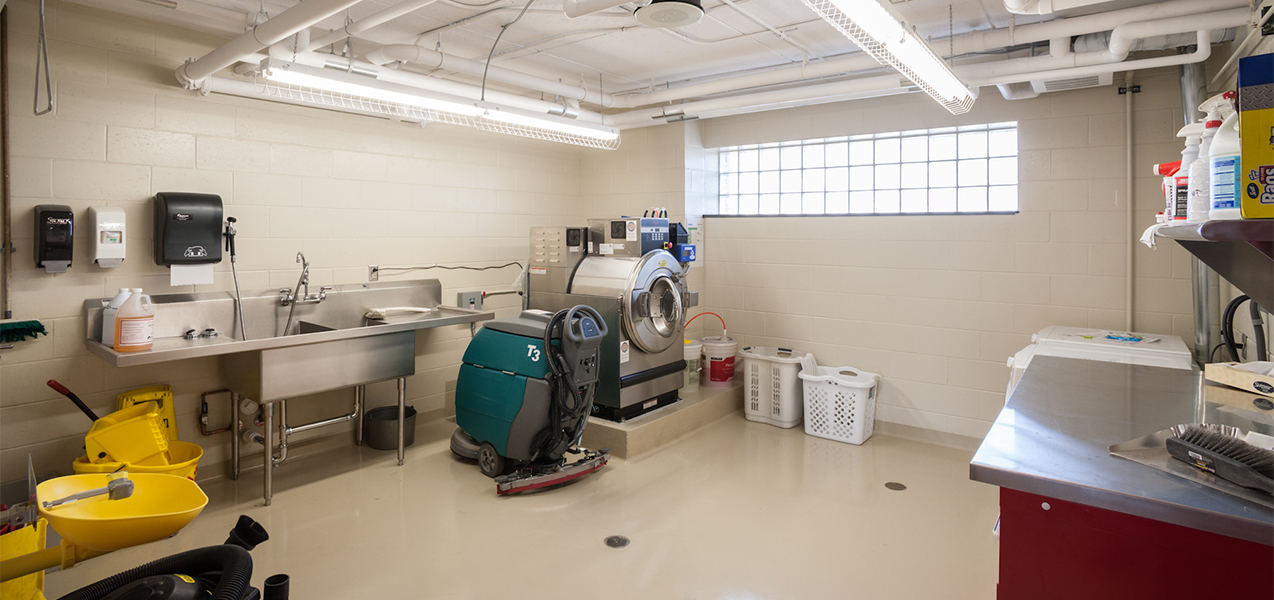 Laundry room of the Waukesha Fire Department remodel by Tri-North Builders.