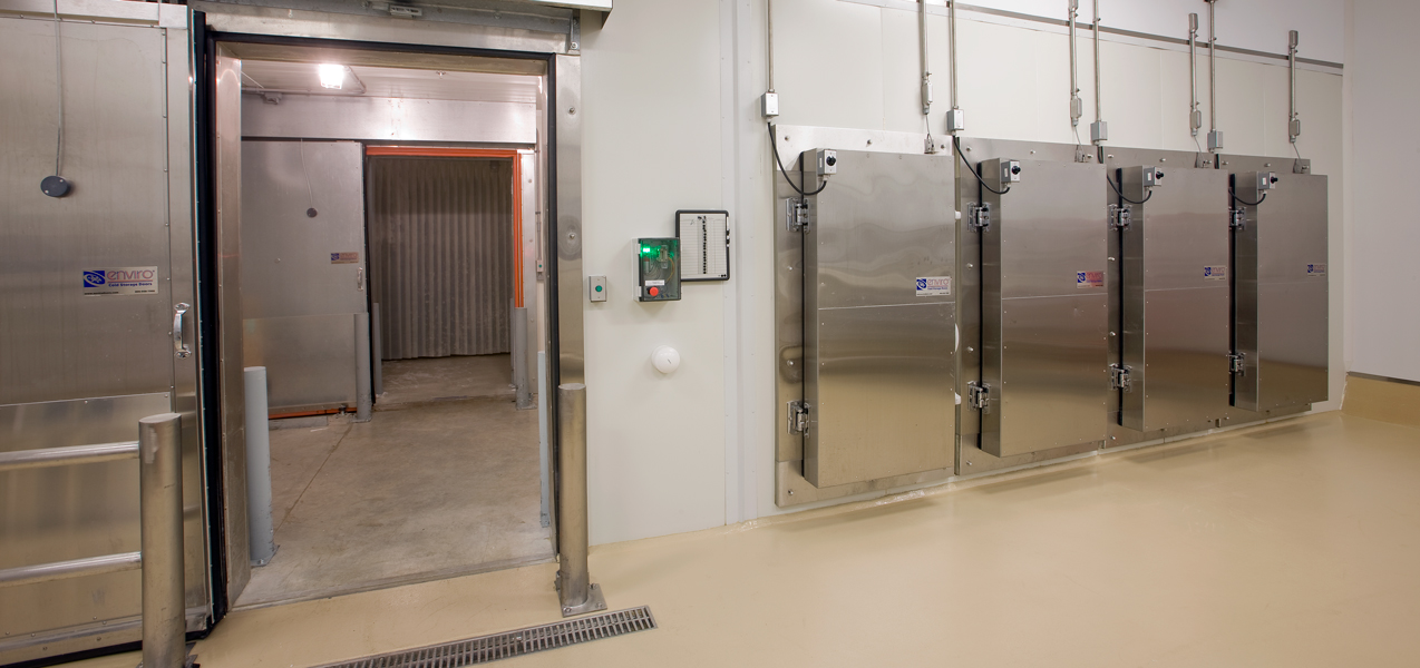 Four metal doors lead to specially built freezers in the Danisco laboratory building.