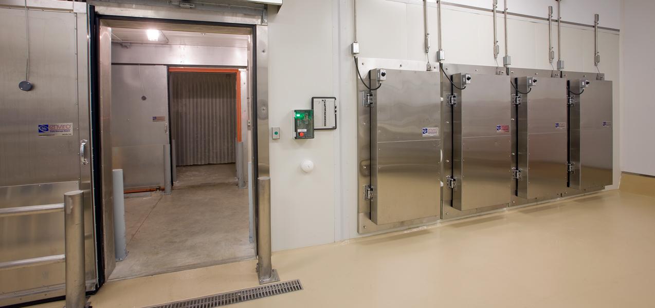 Four metal doors lead to specially built freezers in the Danisco laboratory building.