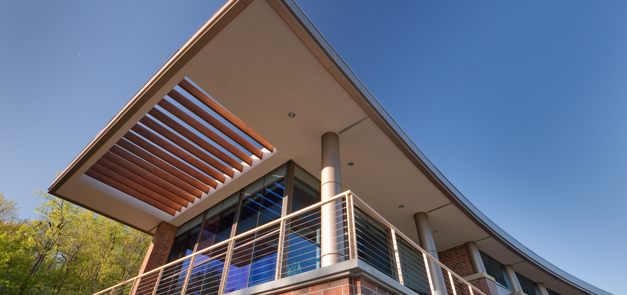 Timber slats let light through the roof overhang at PIKE Technologies, a Tri-North project.
